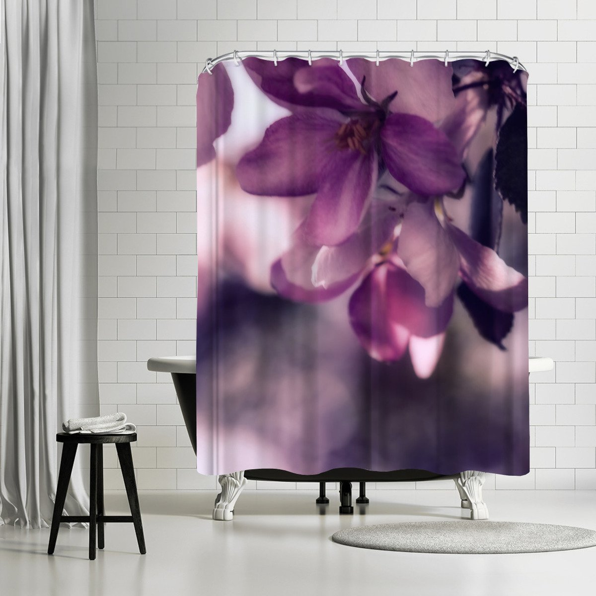 Apple Blossoms Dark by Mirja Paljakka Shower Curtain - Shower Curtain - Americanflat