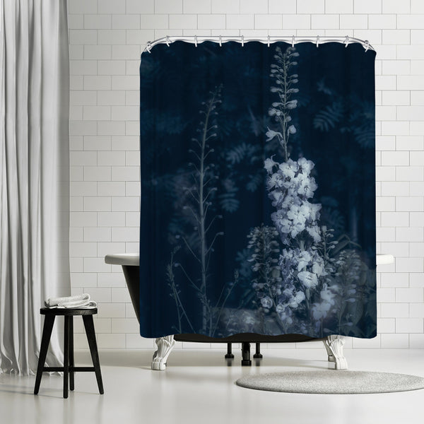 Cyanotype Flowers by Mirja Paljakka Shower Curtain