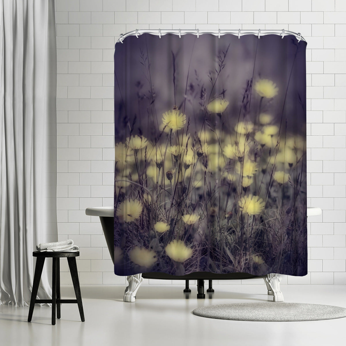 Yellow Floral Meadow by Mirja Paljakka Shower Curtain - Shower Curtain - Americanflat