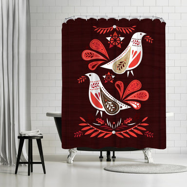 Christmas Redwood Birds by Amanda Shufflebotham Shower Curtain - Shower Curtain - Americanflat