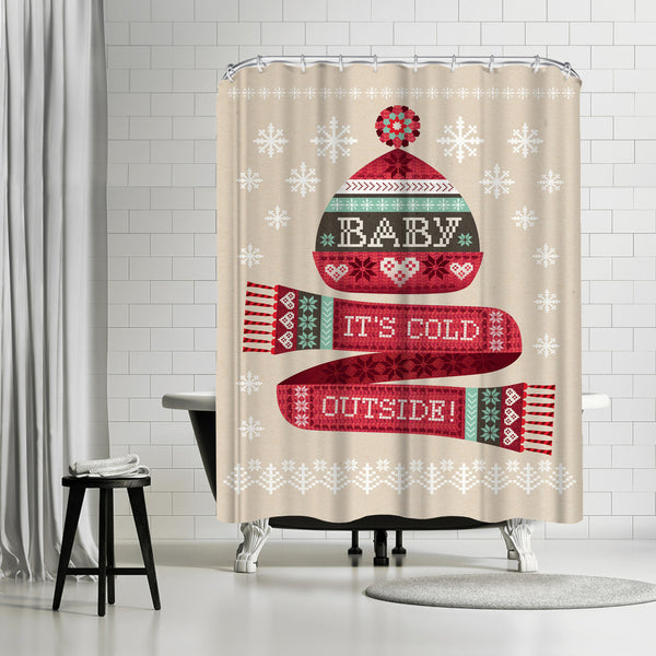 Christmas Hat And Scarf by Amanda Shufflebotham Shower Curtain