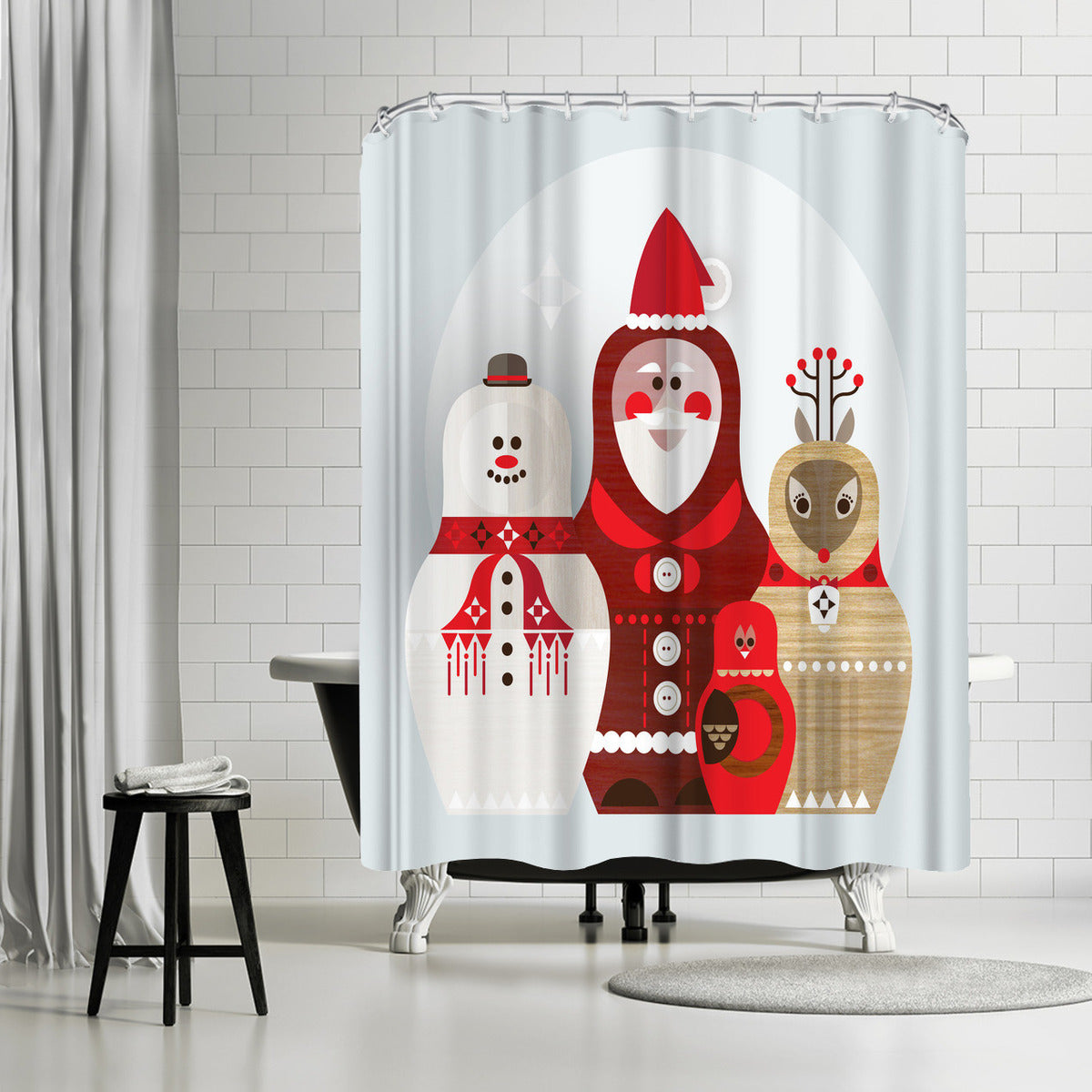 Christmas Russian Doll by Amanda Shufflebotham Shower Curtain - Shower Curtain - Americanflat