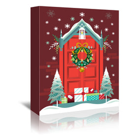 Christmas Door by Amanda Shufflebotham Wrapped Canvas