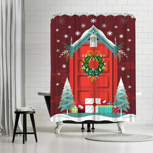 Christmas Door by Amanda Shufflebotham Shower Curtain