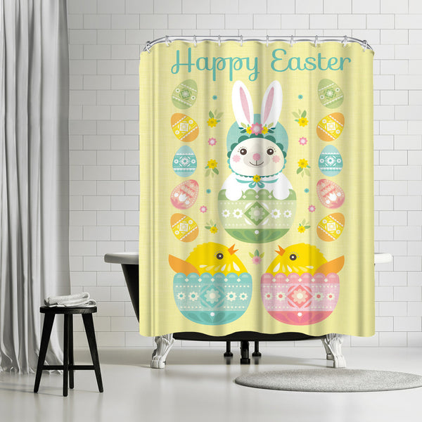 Happy Easter by Amanda Shufflebotham Shower Curtain
