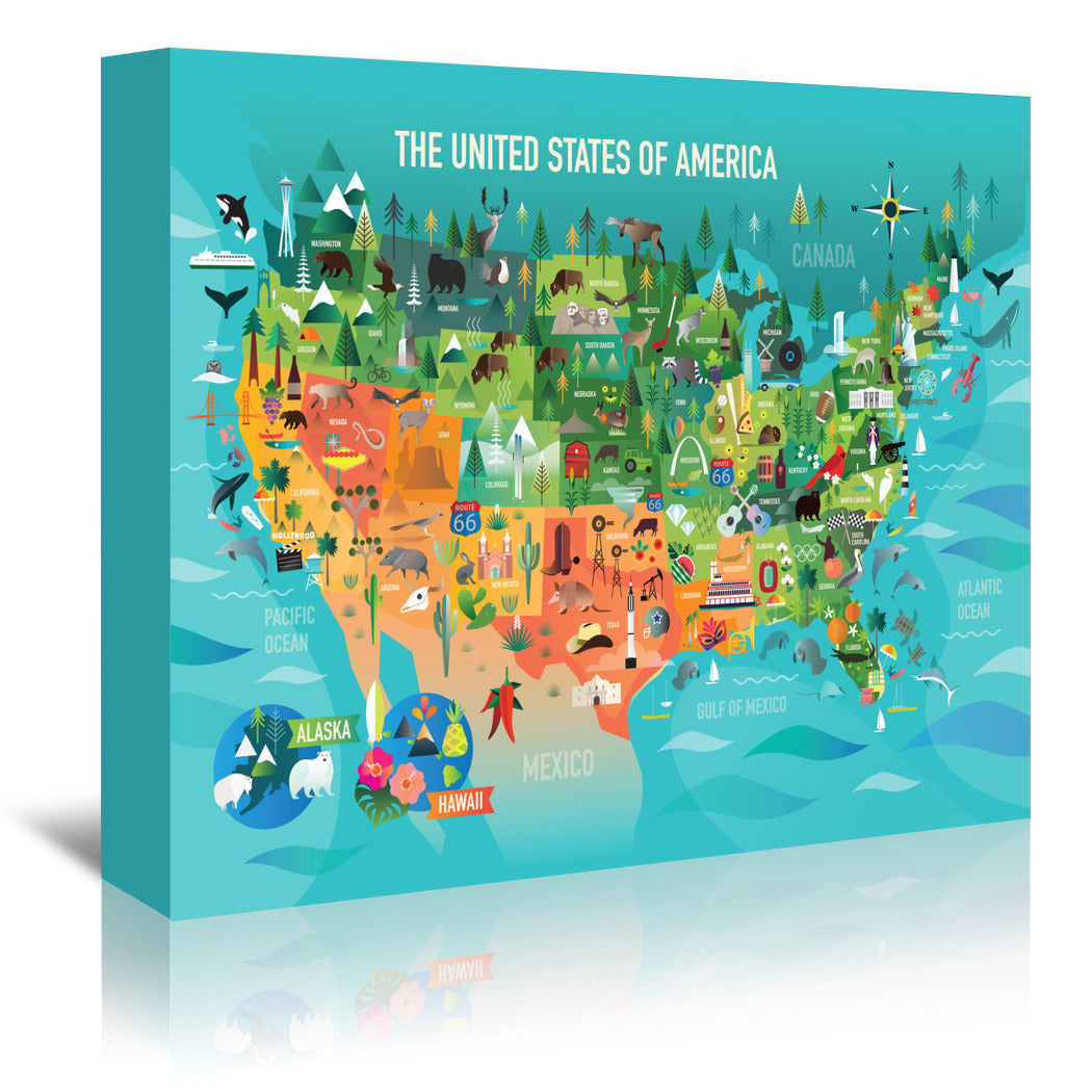 USA Map Copy by Amanda Shufflebotham Wrapped Canvas - Wrapped Canvas - Americanflat