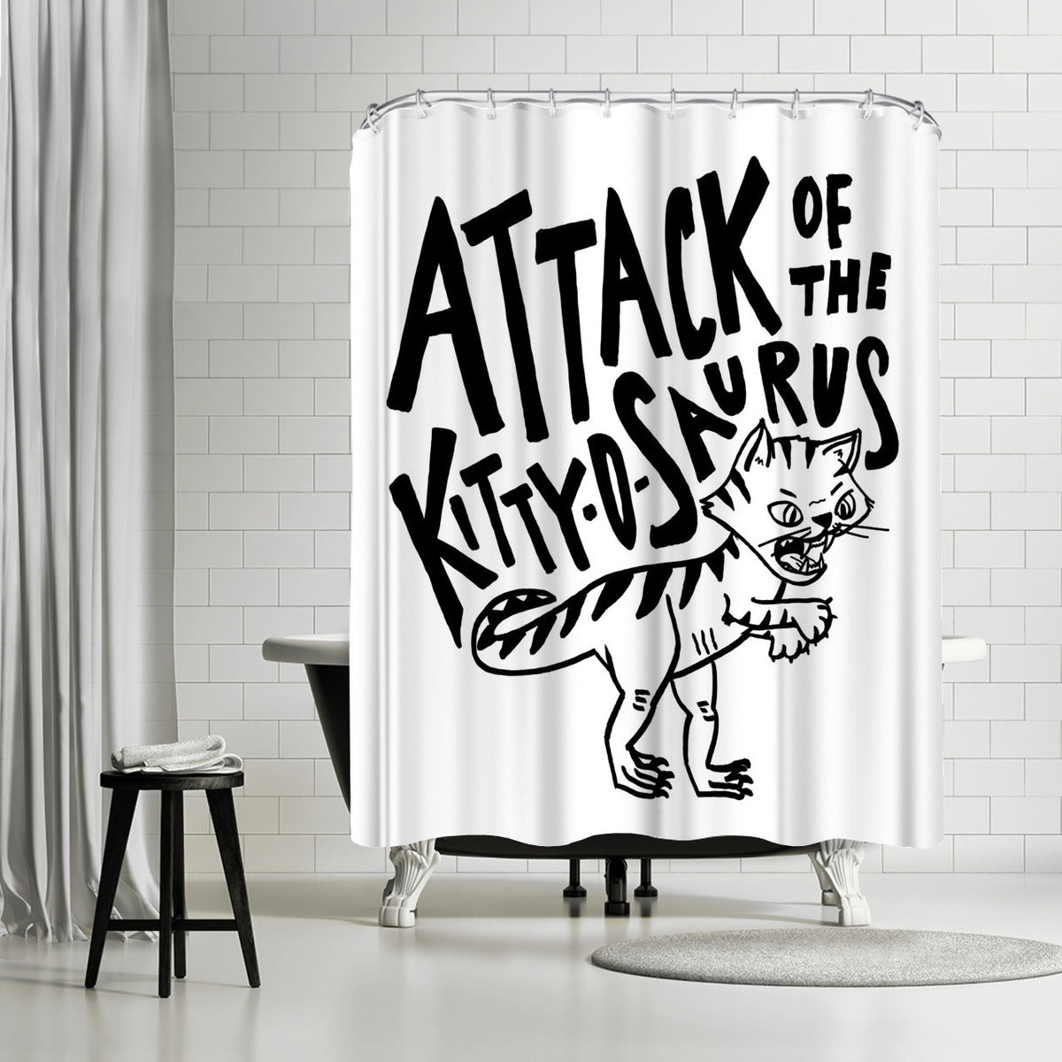 Kitty O Saurus by Leah Flores Shower Curtain
