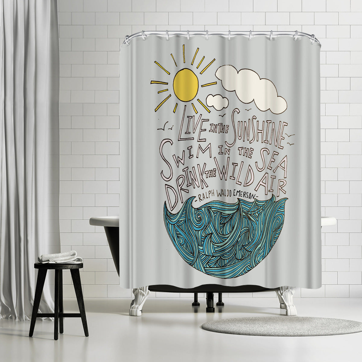 Live In The Sunshine by Leah Flores Shower Curtain - Shower Curtain - Americanflat