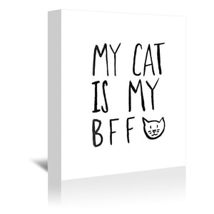 My Cat Is My Bff by Leah Flores Wrapped Canvas