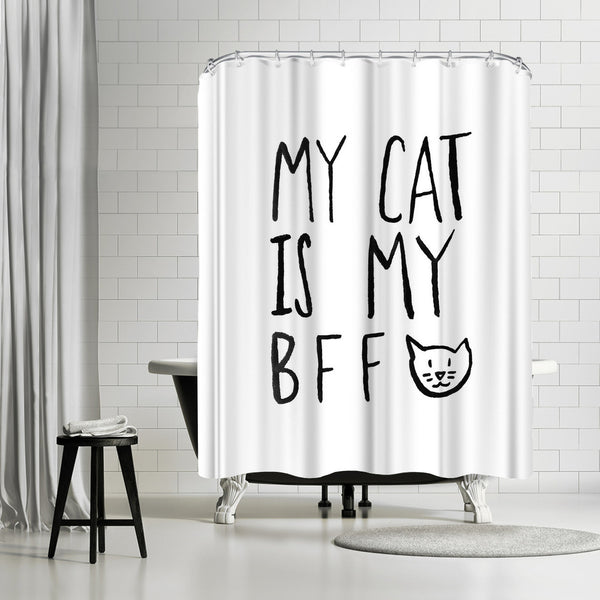 My Cat Is My Bff by Leah Flores Shower Curtain