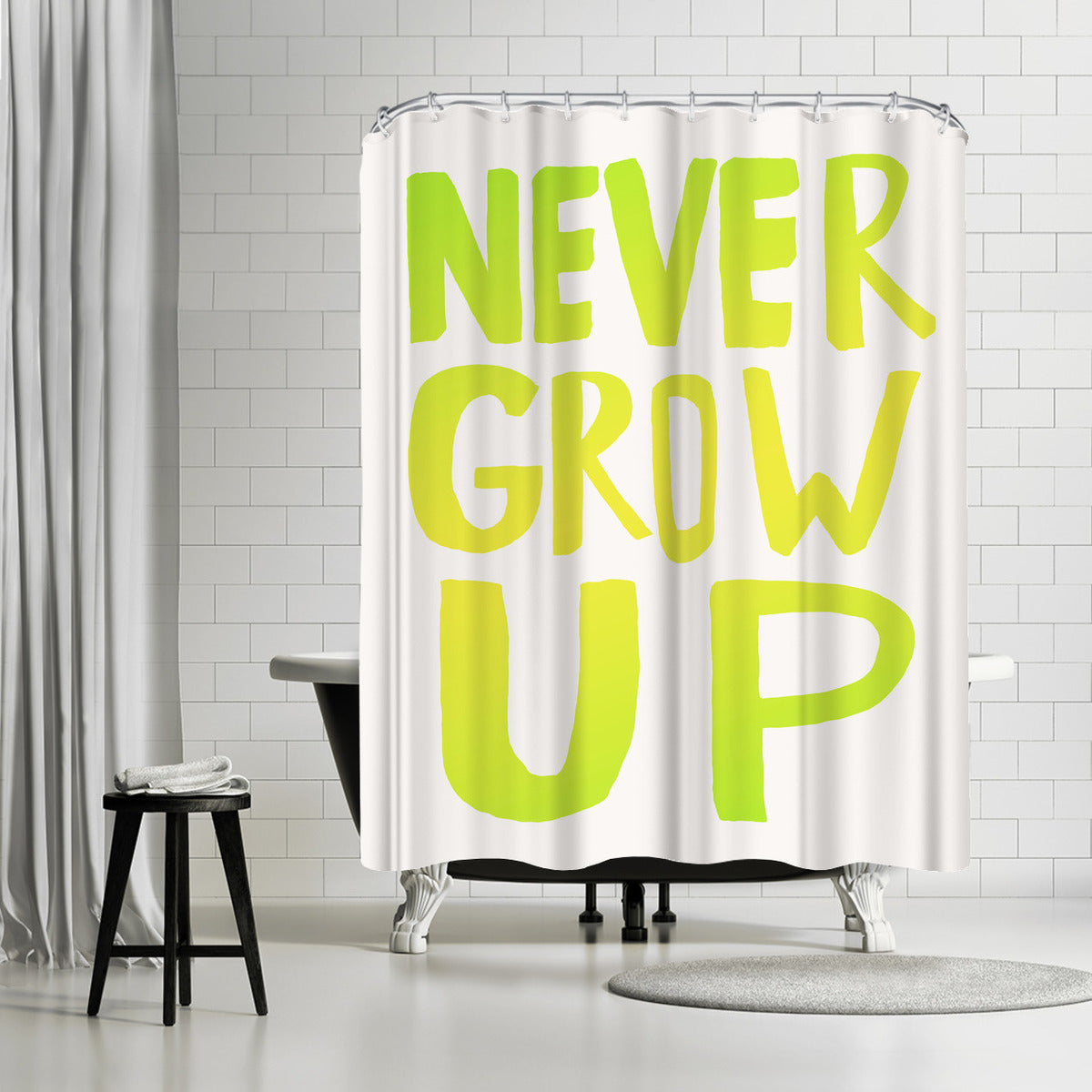 Never Grow Up X Lemon Lime by Leah Flores Shower Curtain - Shower Curtain - Americanflat