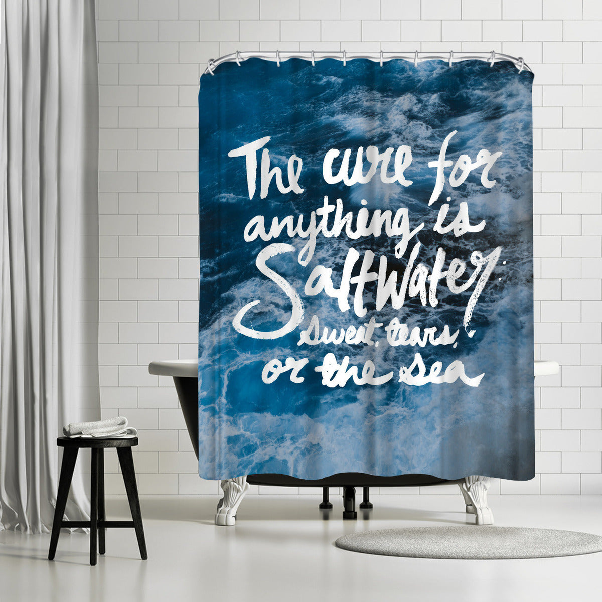 Saltwater by Leah Flores Shower Curtain -  - Americanflat