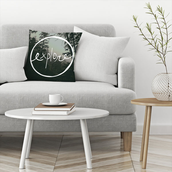 Explore Oregon Forest by Leah Flores  Decorative Pillow