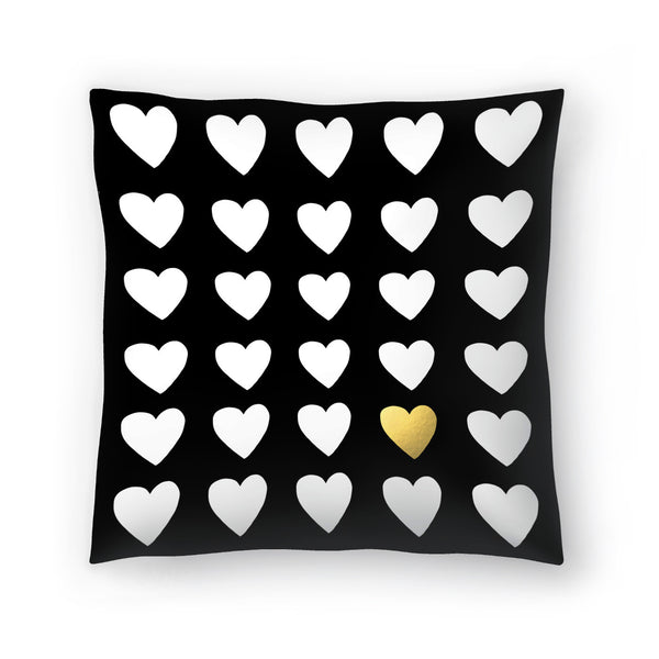 Golden Heart by Leah Flores  Decorative Pillow