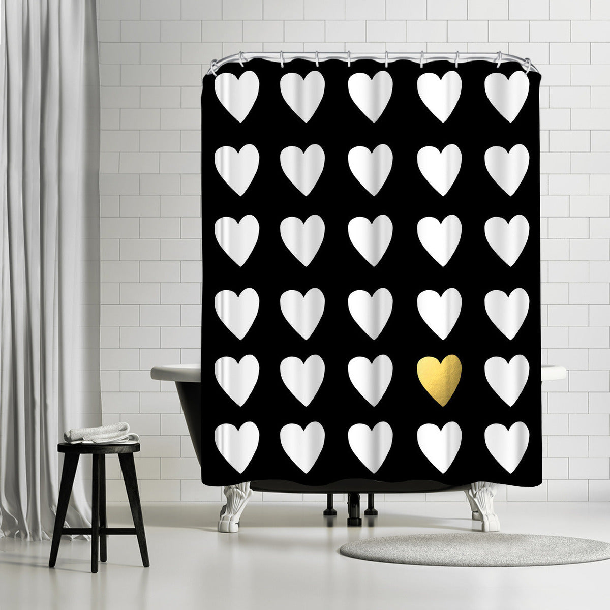Golden Heart by Leah Flores Shower Curtain -  - Americanflat