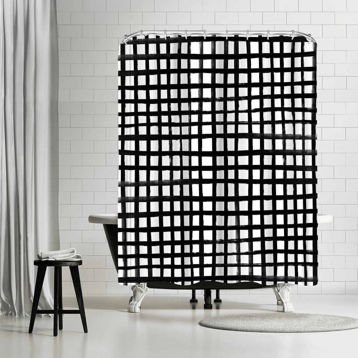 Hand Painted Grid by Leah Flores Shower Curtain - Shower Curtain - Americanflat