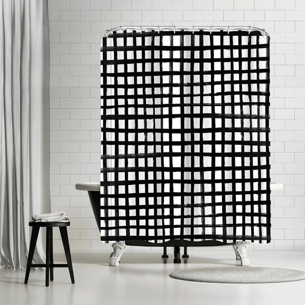 Hand Painted Grid by Leah Flores Shower Curtain