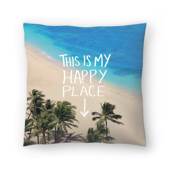 Happy Place Hawaii by Leah Flores  Decorative Pillow