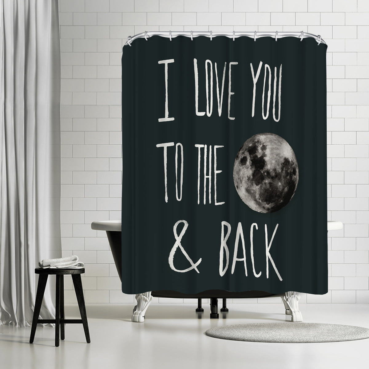 I Love You To The Moon by Leah Flores Shower Curtain - Shower Curtain - Americanflat