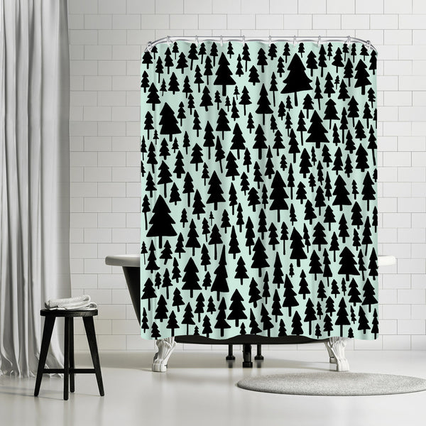 Mint Pine Forest by Leah Flores Shower Curtain