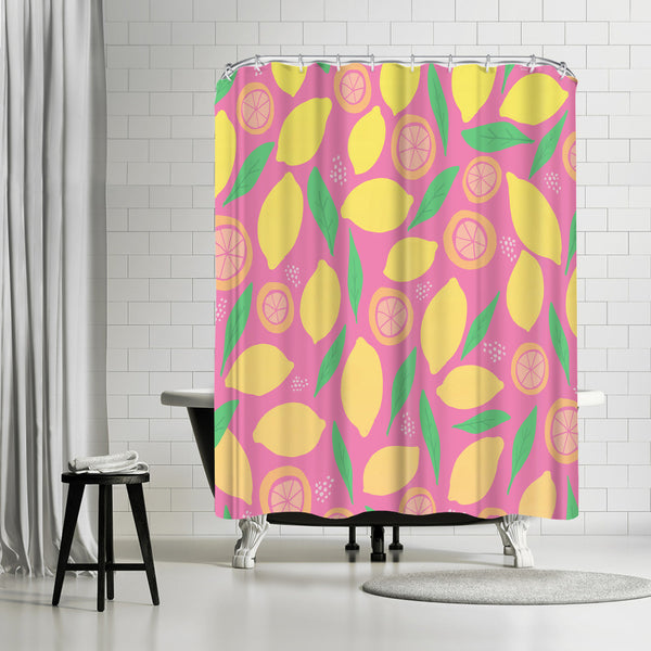 Pink Lemonade by Leah Flores Shower Curtain