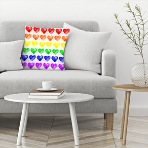Rainbow Hearts by Leah Flores  Decorative Pillow