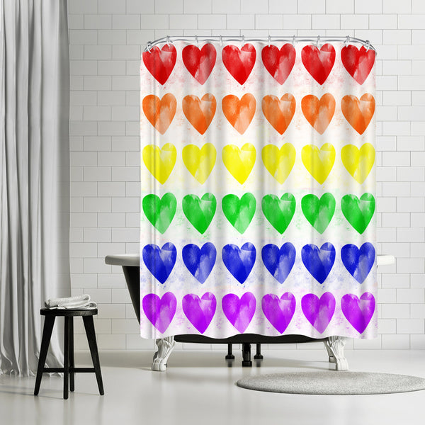 Rainbow Hearts by Leah Flores Shower Curtain
