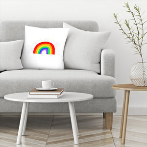 Rainbow Love by Leah Flores  Decorative Pillow
