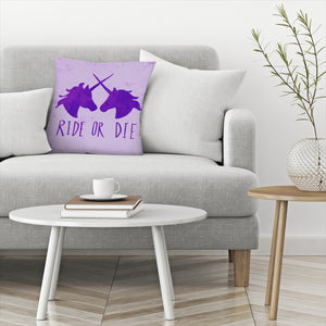 Ride Or Die Unicorns Purple Magic by Leah Flores  Decorative Pillow