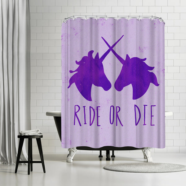 Ride Or Die Unicorns Purple Magic by Leah Flores Shower Curtain