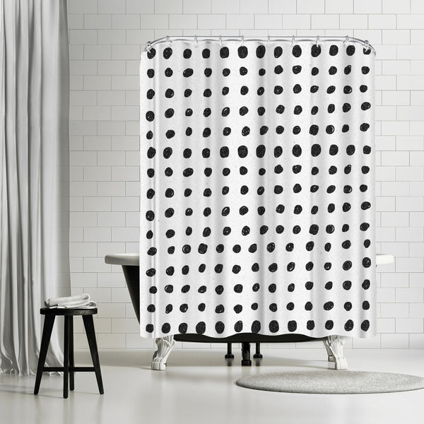 Scribble Dots by Leah Flores Shower Curtain