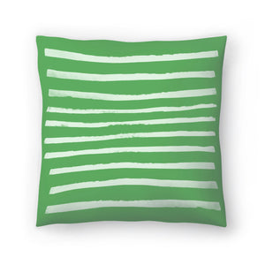Simple Stripes Fern by Leah Flores  Decorative Pillow