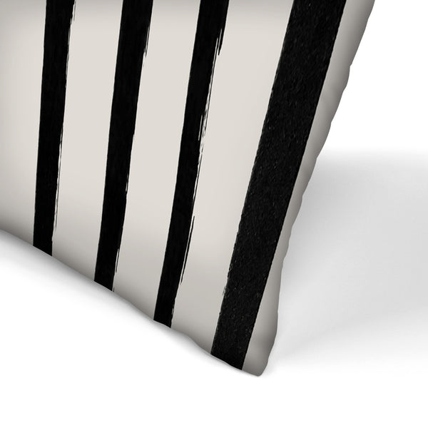Vertical Black And White Watercolor Stripes by Leah Flores  Decorative Pillow