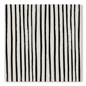 Vertical Black And White Watercolor Stripes by Leah Flores Art Print