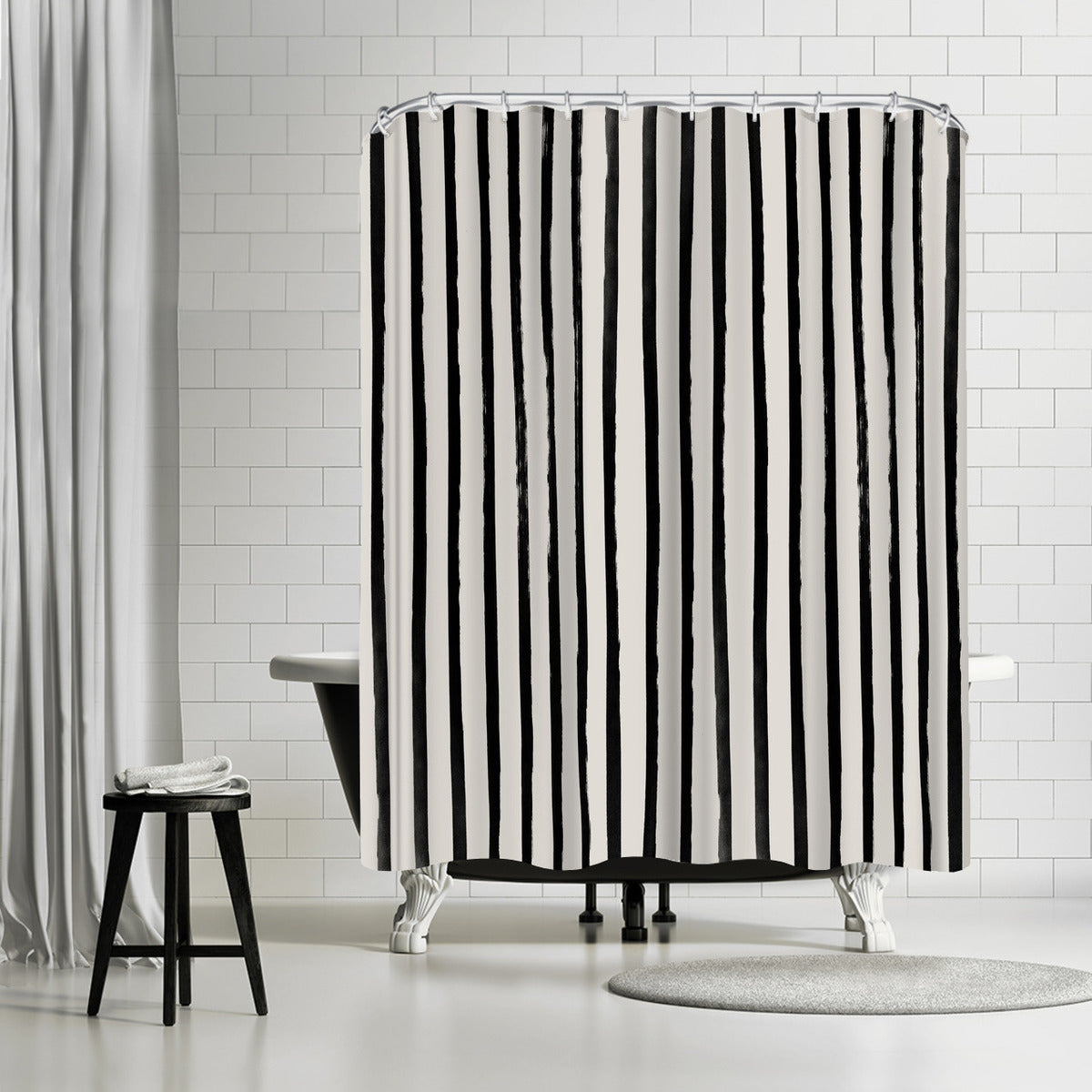 Vertical Black And White Watercolor Stripes by Leah Flores Shower Curtain - Shower Curtain - Americanflat