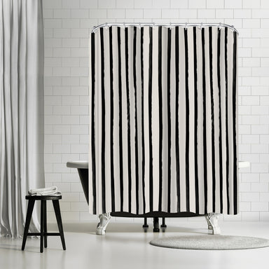 Vertical Black And White Watercolor Stripes by Leah Flores Shower Curtain -  - Americanflat