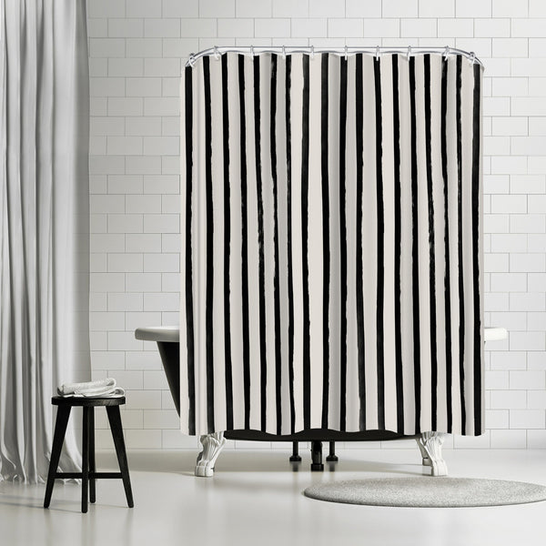 Vertical Black And White Watercolor Stripes by Leah Flores Shower Curtain