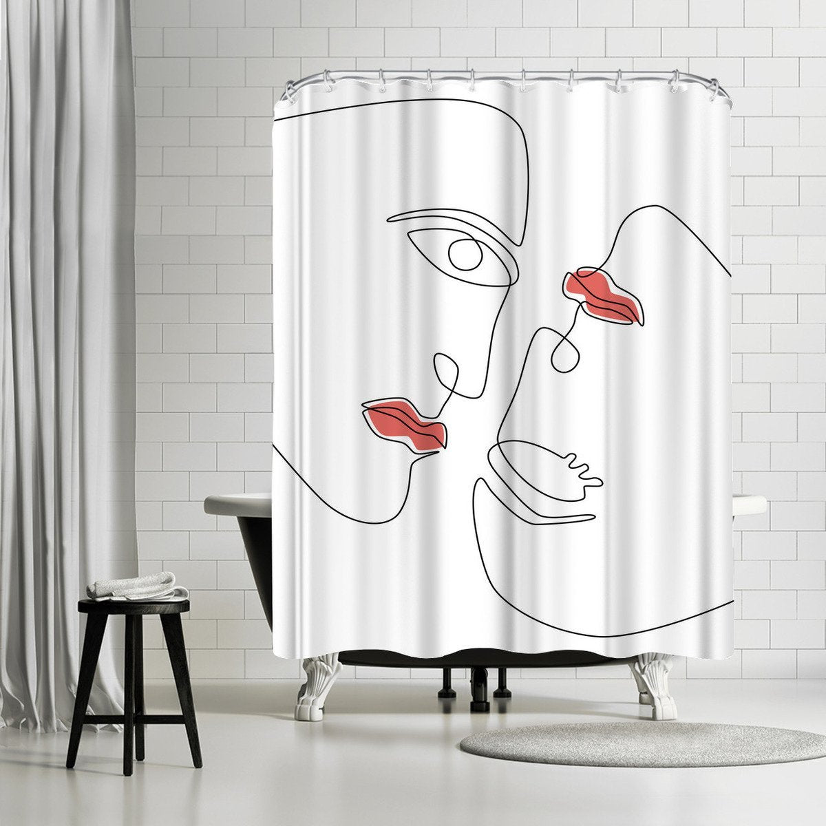 Abstraction Faces by Explicit Design Shower Curtain - Shower Curtain - Americanflat