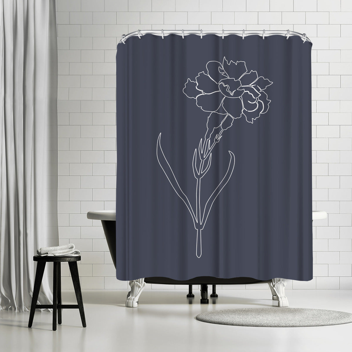 Black Flame Carnation by Explicit Design Shower Curtain - Shower Curtain - Americanflat
