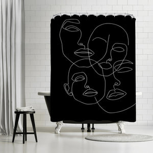 Faces In Dark by Explicit Design Shower Curtain