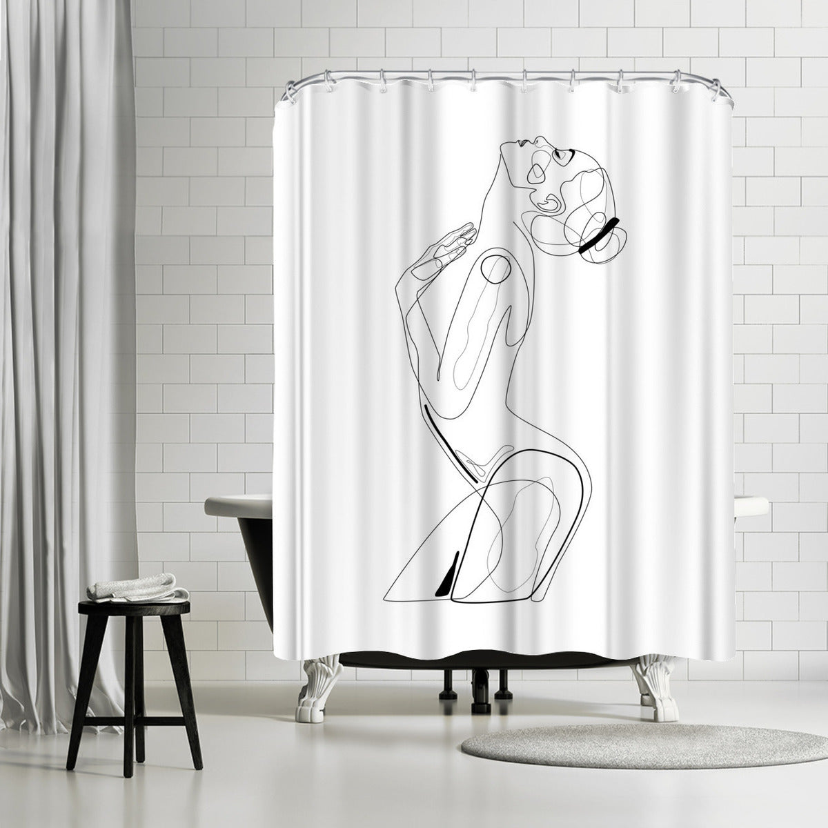 Naked Profile Lines by Explicit Design Shower Curtain -  - Americanflat