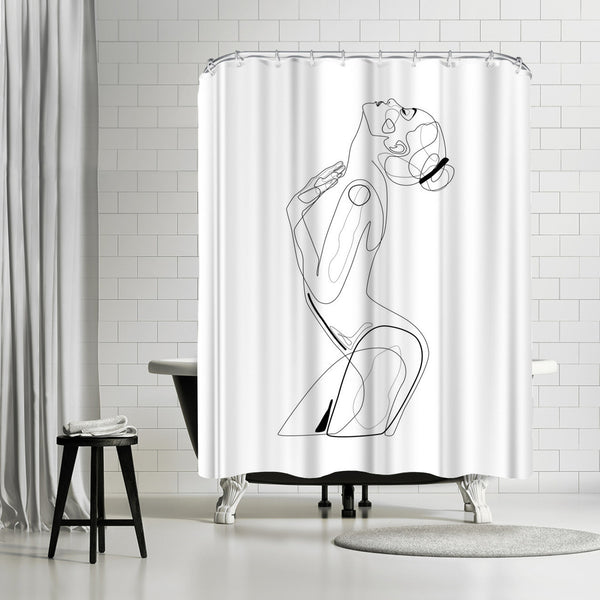 Naked Profile Lines by Explicit Design Shower Curtain