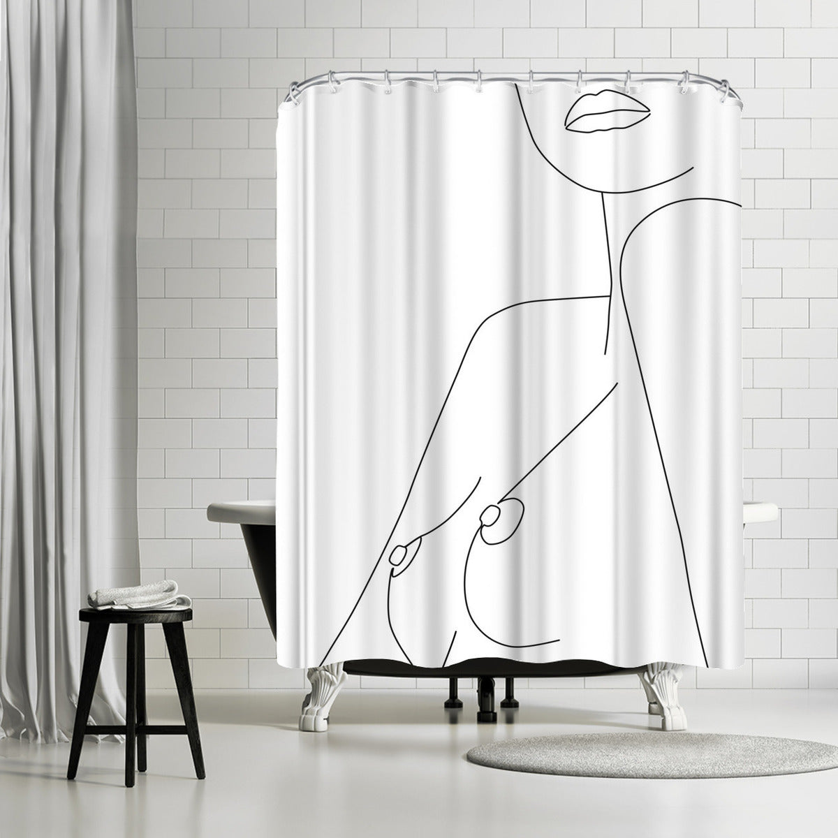 Nude Line by Explicit Design Shower Curtain