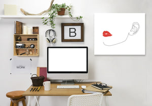 Red Lip by Explicit Design Wrapped Canvas