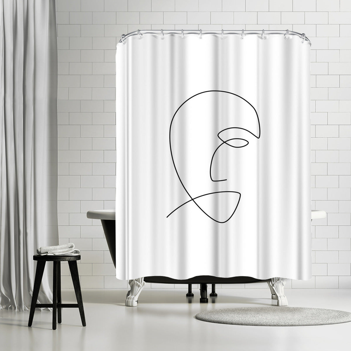 Sad Line by Explicit Design Shower Curtain