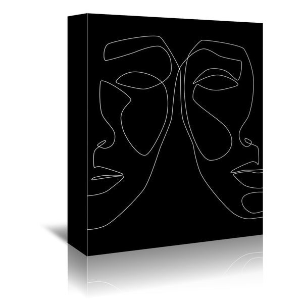 White Line Couple by Explicit Design Wrapped Canvas