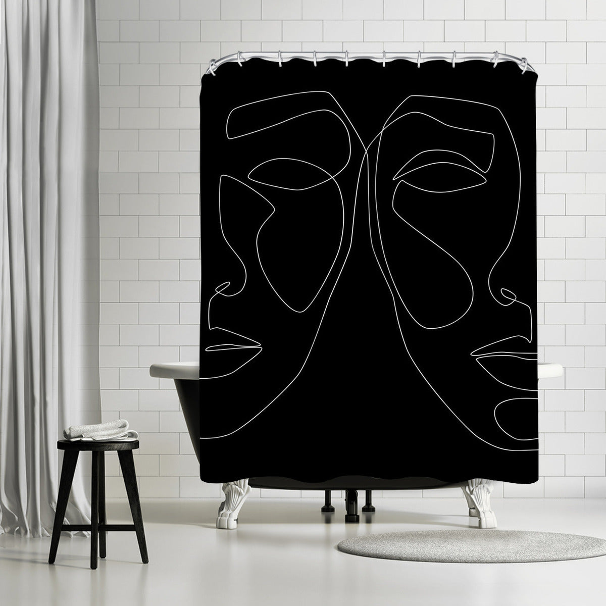 White Line Couple by Explicit Design Shower Curtain - Shower Curtain - Americanflat