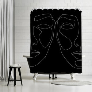 White Line Couple by Explicit Design Shower Curtain