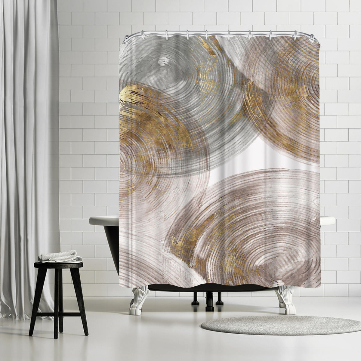 Spiral Rings Ii by PI Creative Art Shower Curtain - Shower Curtain - Americanflat