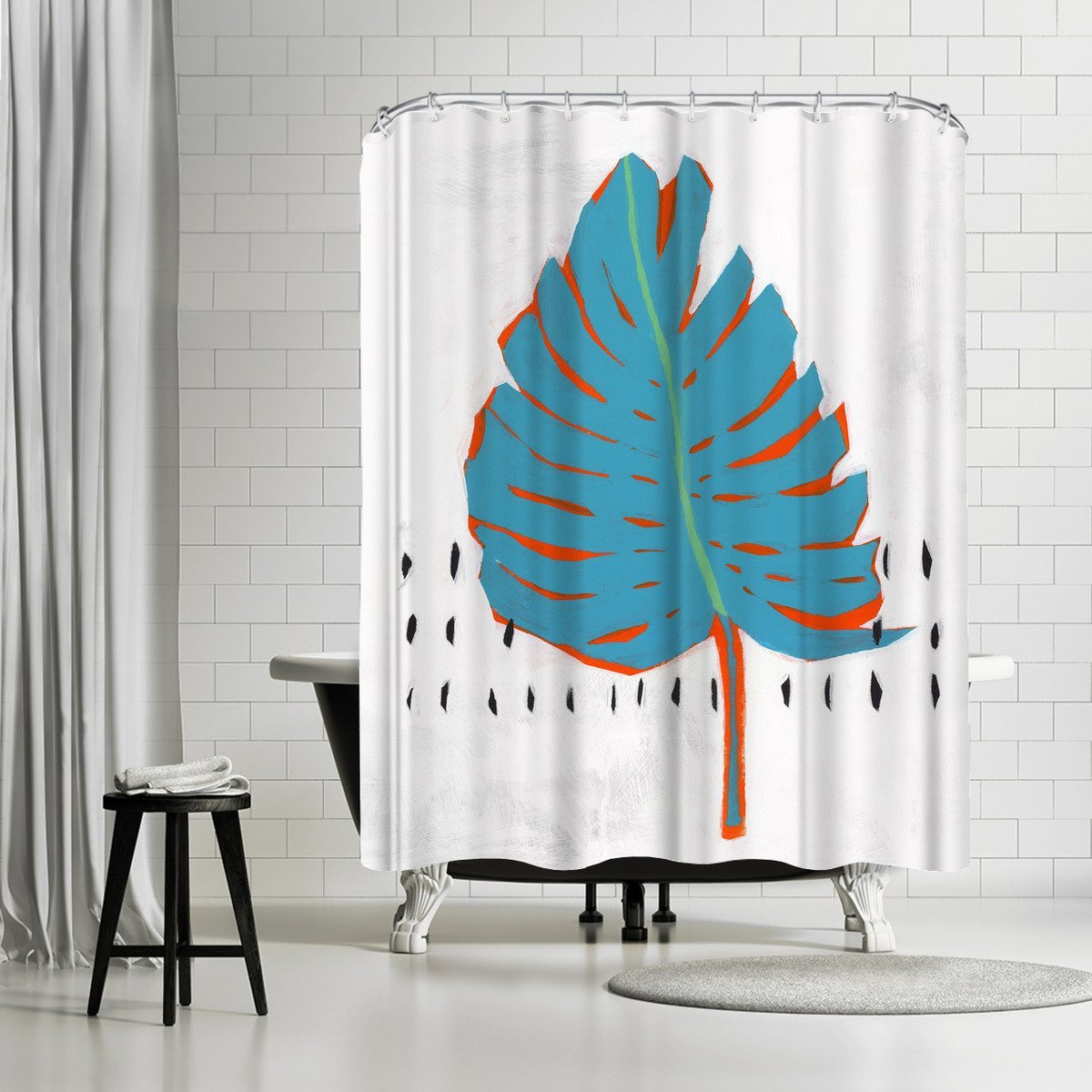 Blue Tropical Leaf I by PI Creative Art Shower Curtain - Shower Curtain - Americanflat